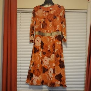 NY&Co Eva Mendes Orange Floral Dress